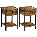 Yaheetech Tables d'Appoint Lot de 2 Bout de Canapé Tables de Chevet Industrielle en Bois avec 1 Tiroir 1 Etagère Peu encombrante pour Salon Chambre Brun Rustique