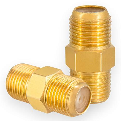 HB-Digital - Juego de 2 conectores F hembra y hembra de cobre chapado en oro, tuerca ancha HQ para conectores F de cada tamaño 4 – 8,2 mm para cable coaxial de antena satélite y equipos BK