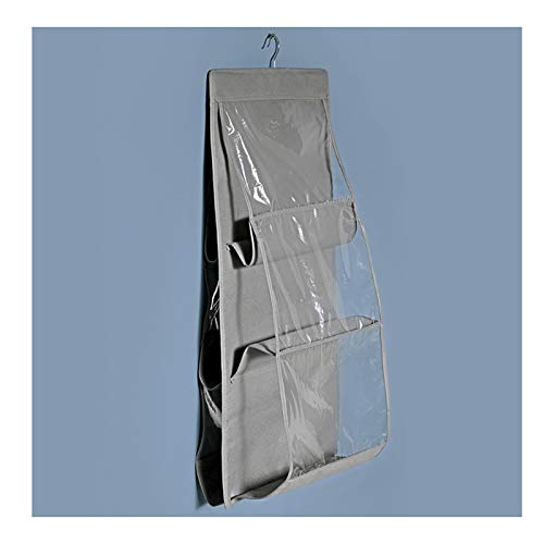 ZHANGYAN Borsoni da Viaggio Sacchetto di stoccaggio sospeso, Sacchetto di stoccaggio della Parete, Armadio con 6 Tasche Ampie (Color : Gray)
