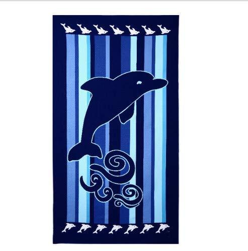 ZFFSC Dolfijn en Nemo Bedrukte Badhanddoek Microvezel Absorbens Strandhanddoek Blauw Zee Wereld Rechthoek Bikini Cover-Up Vrouwen Badmode 70x140cm