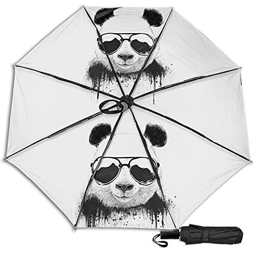LYYNBLA Gafas pandaCompact manual abierto/CloseTrifold Travel Anti-Uv,Impermeable al aire libre Sombrilla paraguas lluvia y sol, Impresión interior., Taille unique