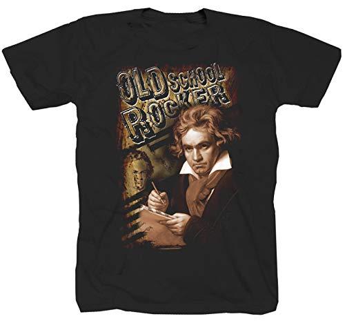Beethoven Rock Heavy Metal Rockabilly Maglietta Camicia T-shirt classica da concerto Nero XL