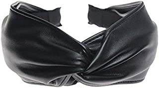 Lessonmart Metting Bohemian Vintage Black Leather Big Knotted Bow Wide Headband Hairband Hair Accessories