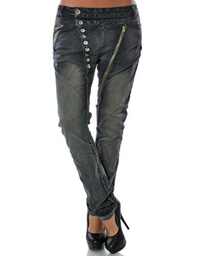 Daleus Damen Boyfriend Jeans Hose Reißverschluss Knopfleiste Stretch DA 14145 Größe M / 38 Farbe Anthrazit