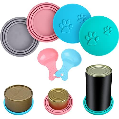 HB-Int 4 tapas de silicona para latas de mascotas con 2 cucharas, universales, para perros, gatos, latas, latas de comida, tapas de silicona, aptas para lavavajillas, sin BPA
