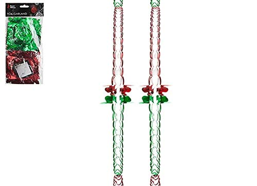 Snow White HOVUK Christmas Hanging Ceiling,Wall Decoration Foil Garland 2.7m 6Section 12x12cm (2pack) (Green/Red)