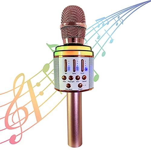 Microfono Bambini Karaoke Cantare Canzoni Musica Wireless Bluetooth Senza Fili Portatile Altoparlante Voce Registratore Voci Luci Led Batteria Cuffie Cassa Rosa Oro Regalo Giochi Casa Bambino Bambina