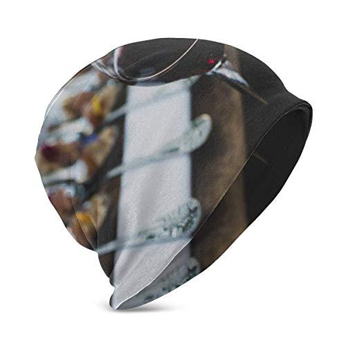 Kaswtrb Tiburón de Vino Tinto Comiendo Pizza Sombrero Turbante Cabeza Gorra Skullies Sombrero para niño y niña Sombrero de Punto Invierno cálid