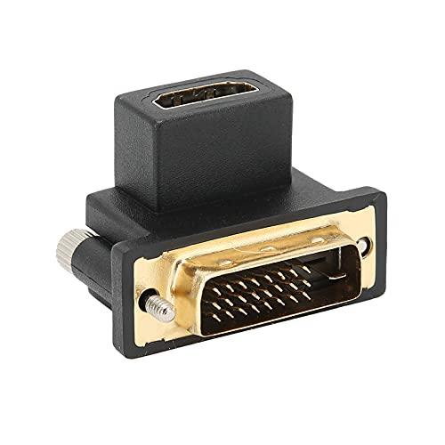 T opiky HDMI a DVI, Codo de 90 ° HDMI a DVI Adaptador convertidor de Hembra a Macho para proyectores, Ordenadores portátiles, Reproductores, monitores
