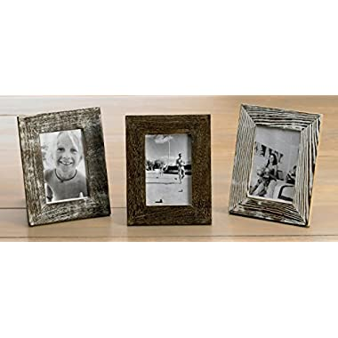 KINDWER Distressed Wood Frames, 4 by 6-Inch, Set of 3