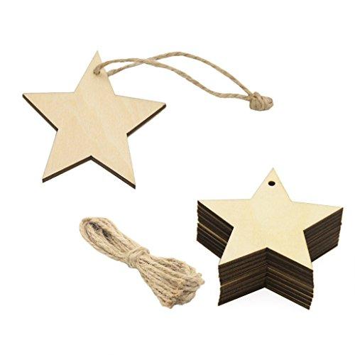Fenteer 20stk. Unfertige Holzsterne Anhänger Geschenketiketten Baumschmuck mit Loch und Jute Schnur