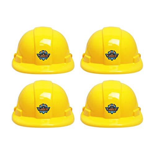 Toyvian 4 Piezas Amarillo Sombrero de Construcción Niños Juego de rol Trabajador de La Construcción Casco Duro Fiesta de Disfraces Suministros