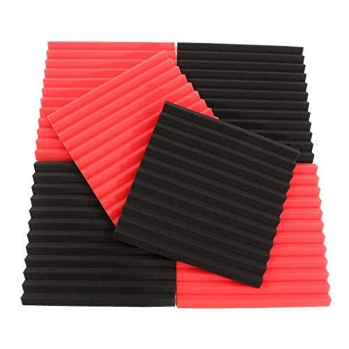 Yongse 6 stuks. 30x30x2,5 cm akoestische geluidsisolatie geluidsisolatie tegels zwart & rood