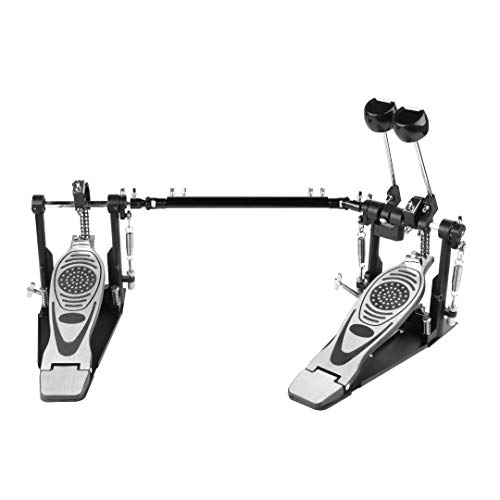 Double pedal Bass drum pedal,Double Chain Drum Step on Hammer, Bass Drum Pedal come with 2 PCS Drum Beater Stick and 1 PCS Drum Key