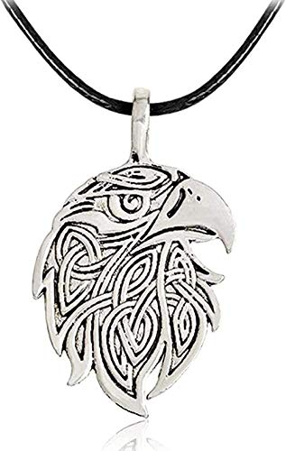 ZJJLWL Co.,ltd Collar clásico Amuleto Lobo águila Colgante Collar Cadena de Cuerda de Cuero Color Plata Steampunk joyería Regalo para Hombres Mujeres