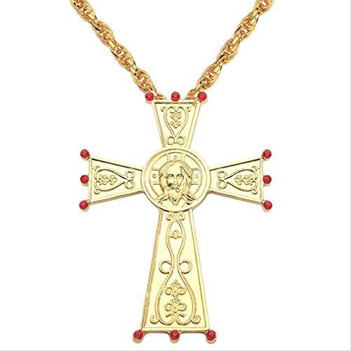 ZGYFJCH Co.,ltd Collar Hip Hop Color Dorado Collar católico Jesús Cruz Colgante Collar Artesanía de Metal Religioso ICO Religioso Ortodoxo Bautismo Fe Regalos