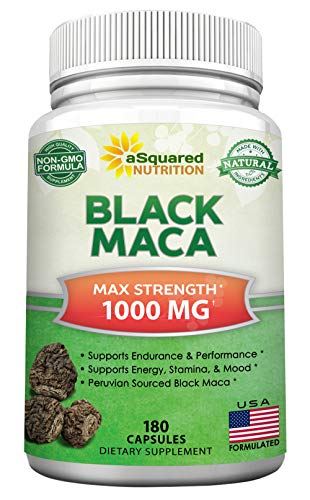 Black Maca Root - 180 Capsules - Max Strength 1000mg Per Serving - Gelatinized Maca Root Extract Supplement from Peru - Natural Pills to Support Reproductive Health & Pure Energy - Non-GMO