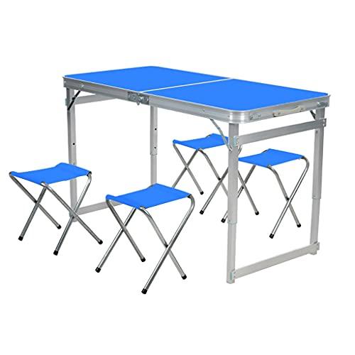 Mesa plegable plegable con 4 sillas de altura ajustable, escritorio plegable portátil para interior y exterior, picnic, fiesta, comedor, hogar, oficina, muebles (color: azul)