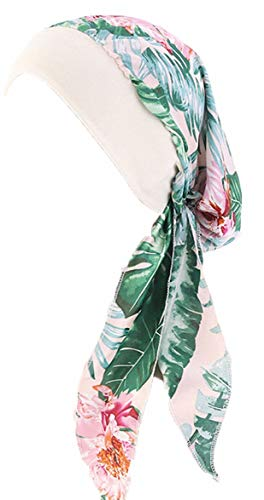 ToBe-U Chemo-Kopfbedeckung für Damen, langes Haar, Kopftuch, Kopftuch, Krebs, Hüte, Schal, Geschenke für Haarausfall Gr. One size, TJM-329B-grünes Blatt