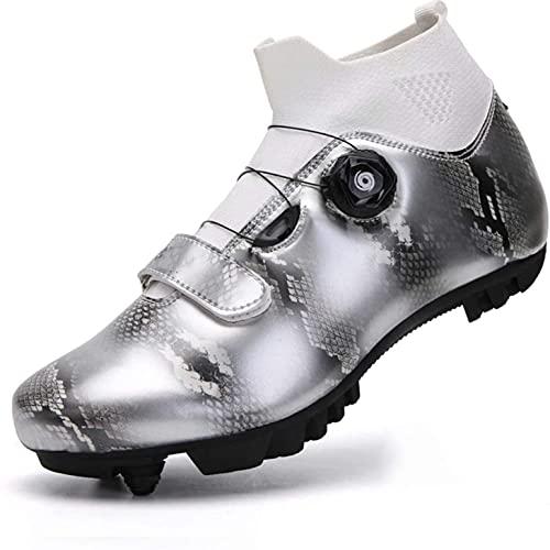 Zapatillas De Ciclismo - Zapatos De Bicicleta De Montaña para Hombre MTB Road Bike Shoes Spin Indoor Cycling Shoes con Encaje Rápido Autobloqueo Compatible SPD Class VIIPOO,Silver-39 EU