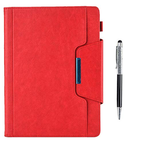 QYiD Case for iPad 9.7 2018 2017/iPad Air 2/iPad Air/iPad Pro 9.7, Vintage Leather Case Multi-Angle Viewing Folio Stand Cases with Pencil Holder & Card Pocket for iPad de 9,7 inch (Rojo)
