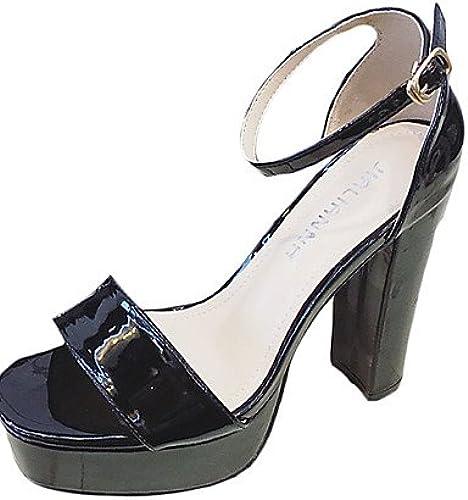 GGX  Chaussures Femme-Décontracté-Noir   Rose   Rouge   Argent   gris-Gros Talon-Talons-Chaussures à Talons-Cuir Verni