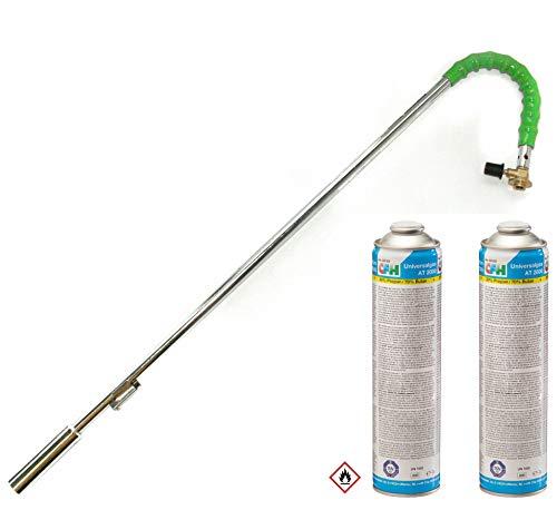 Grodenberg Bio Gas-Unkrautbrenner Abflammgerät Unkrauvernichter mit 2 Gaskartuschen at 2000