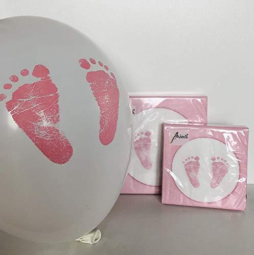 SET: 20+20 servetten motief: Babyvoetjes Roze Lunch + Cocktail + 4 ballonnen Karaloon 'Babyvoetjes' geboorte doop decoratie tafeldecoratie