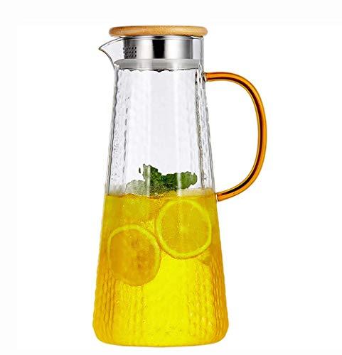 H-BEI Jarra de Agua de Vidrio con Tapas, jarras, Jarra para Nevera, Ideal para Jugo de Frutas, té Helado y Agua Caliente fría