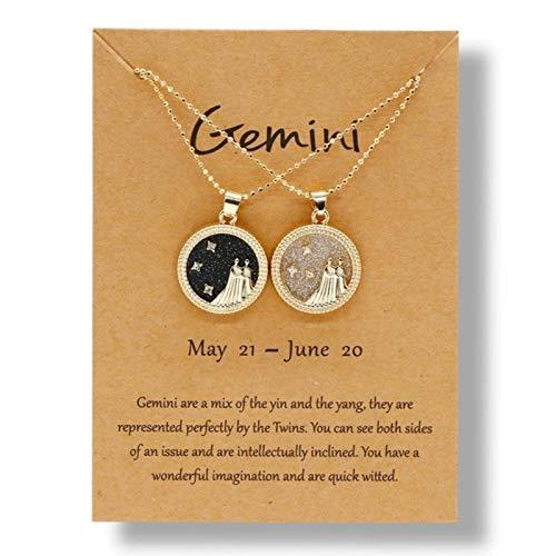 CXWK 12 Collares de constelación para Mujeres Hombres Cadena de Oro Signo del Zodiaco Colgante Redondo Collar joyería de Pareja