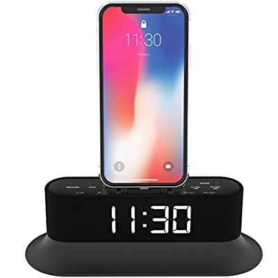 AZATOM Chronos 2 Lightning Dock Speaker for iPhone Xs Max, Xs, Xr, X, 8, 8 plus, 7plus, 7, 6s, 6, 5s, 5, 5c, SE, iPod Touch Nano - FM Radio Dual Alarm Clock - Docking station (Black) from Azatom