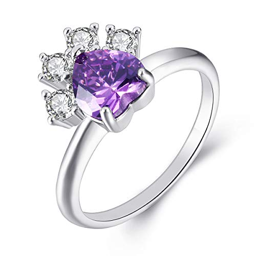 JIANGYUE Pet Paw Print Love Heart Ring for Little Girl, 18K White Gold Plated Dog Cat Claw Purple Cubic Zirconia Ring Fashion Jewelry Mother's Birthday Gift for Women Teen Girls Pet Lovers Size 7