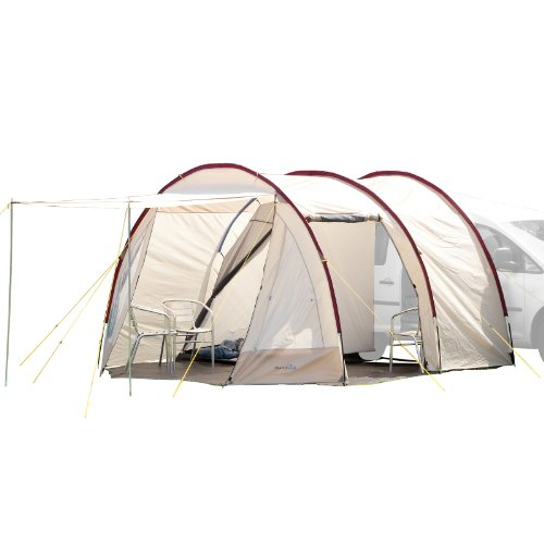 Skandika Camper Tramp Busvorzelt | Freistehend mit Schlafkabine für 2 Personen, Stehhöhe 2,1m, Sonnendach, 11m² Wohnbereich, 3000mm Wassersäule | Zelt für Auto, Bus, Van, Bulli