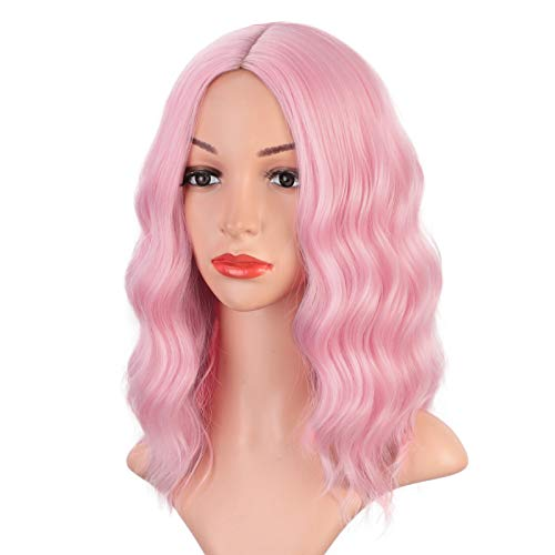 Earfodo Light Pink Wig For Women ShortCurlyWavy Bob Wig 14 Inch Shoulder Length Middle Part Pastel Pink Wig Heat Resistant Synthetic Party Costume Cosplay Wig For Girls Wear Colorful Wigs