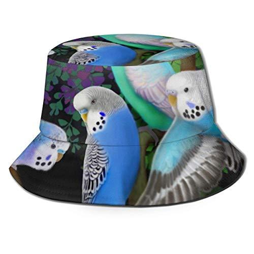 shenguang Pulsera Budgie Periquitos y helechos Sombrero de Cubo Unisex Sombrero de Sol Pescador Plegable Trave Cap Moda al Aire Libre Sombrero