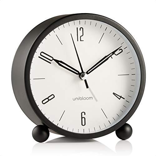 Unibloom Lautloser Wecker Analog – Wecker ohne Ticken mit warmem Licht - Minimalistischer runder leuchtender Metall-Wecker – Modischer Nachttisch-Wecker – Alarm Clock Vintage Deko