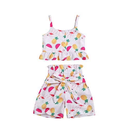 Toddler Baby Girl Watermelon Halter Outfits Set Strap Flamingos Crop Tops + Pineapple Bow Shorts Pants Clothes Set(Watermelon, 1-2 Years)