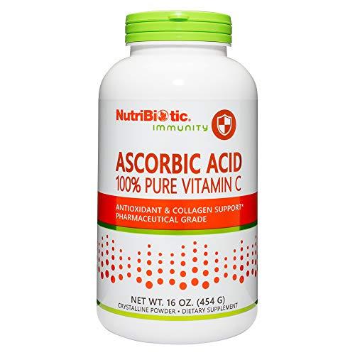 NutriBiotic Ascorbic Acid Powder for Antioxidant & Collagen Support 2500 mg per serving | 16 ounces | Pure L-Ascorbic Acid | Pharmaceutical Grade | Non-GMO | Gluten Free | Vegan | Easily dissolves