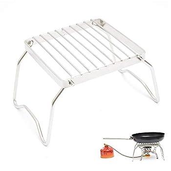 Seully Gril de Camping Portable,Support de Brûleur de Barbecue Pliant, Support de Camping en Plein Air en Acier Inoxydable Support de Support de Marmite pour la Randonnée,Pique-niques,Pêche
