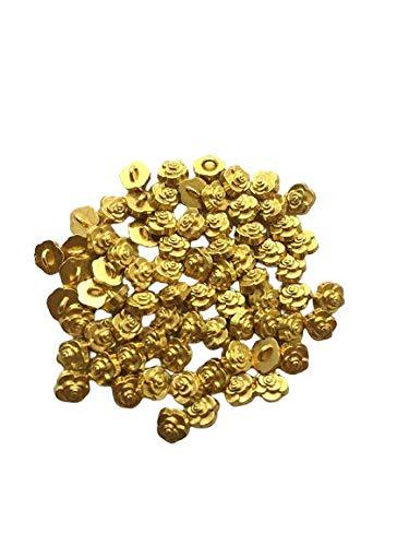 金色花ボタン80個 約5mm 極小 小さめ ハンドメイド材料 デコ材料 ドール用 人形用