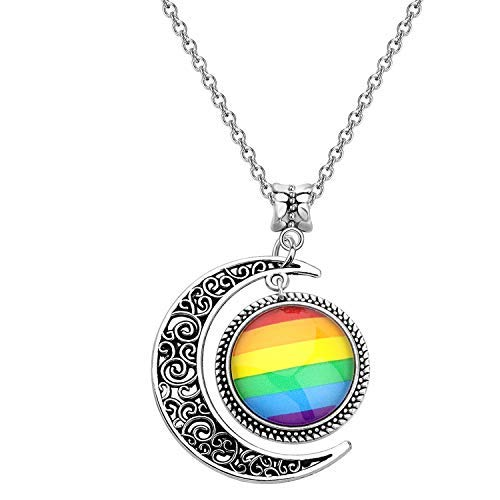 Gay Pride Rainbow Necklace Crescent Moon Charm Rainbow Pendant Necklace Gay & Lesbian LGBT Pride Gifts Rainbow Jewelry LGBT Jewelry Lesbian Gift (gay pride full flag necklace)