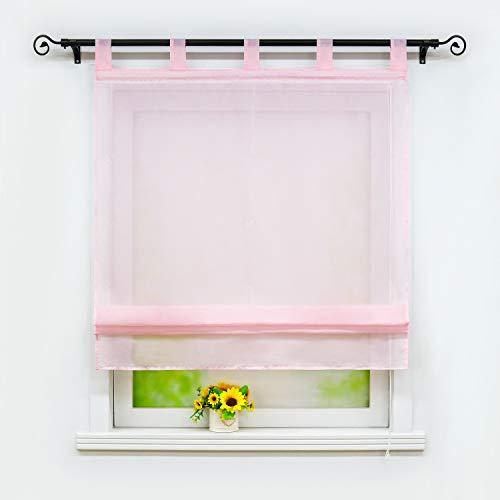 Joyswahl Voile Raffrollo sanfte transparente einfarbige Raffgardine mit Schlaufen »Alexia« Schals Fenster Gardine BxH 100x140cm Pink 1 Stück