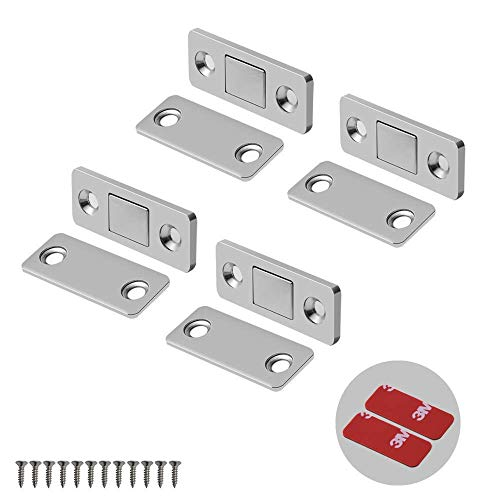 Mousike Magnetic Door Catch Ultra Thin Cabinet Magnets Stainless Steel Drawer Magnet Catch for Sliding Door Closure Kitchen Cabinet Cupboard Closet Closer 4 Pack