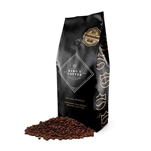 KING'S COFFEE – BLACK EDITION | 1kg | Dunkle Premium Kaffeebohnen | Säurearm | kleine Chargen-Röstung aus Italien | kräftiger Arabica Robusta Blend für Vollautomaten