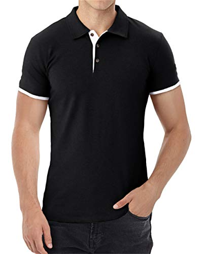 Aiyino Men's Short Sleeve Polo Shirts Casual Slim Fit Basic Designed Cotton Shirts