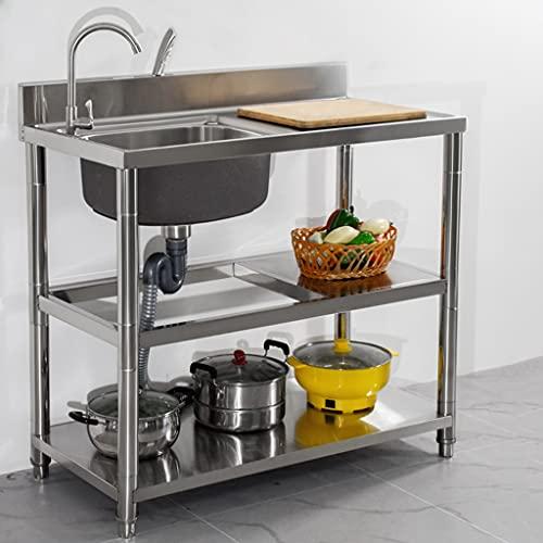 Fregadero de acero inoxidable 304, encimera integrada, fregadero para verduras, con soporte, fregadero individual, fregadero doméstico, fregadero al aire libre, cafetería escolar, jardín de infante