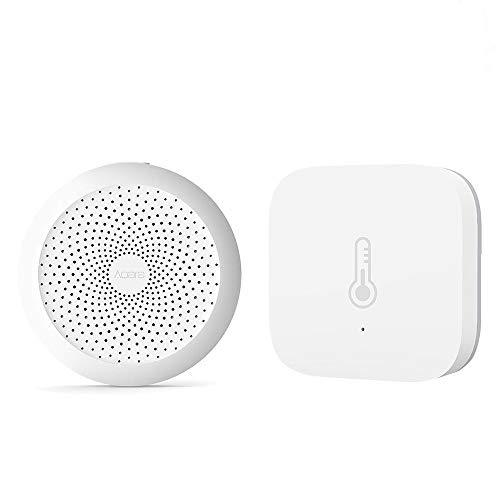 Aqara Smart Home 2 in 1 Kit, 1*Aqara Smart Home WiFi Remote Control Multifunctional Gateway, 1*Aqara Intelligente Temperatur Luftfeuchtigkeit Sensor WiFi Drahtlose Echtzeit Alarm Intelligente Detektor