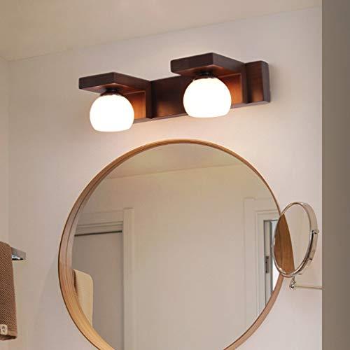 ZQH Massief houten spiegel-voorlicht, LED badkamer wandlamp modern make-up licht vanity licht spiegel licht lamp badkamer spiegelkast lamp lamp voor make-uptafel