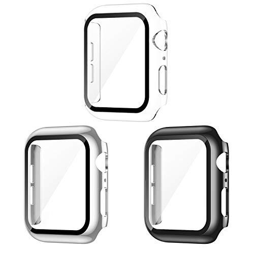 AVIDDA 3er Packung Apple Watch Schutzhülle,Hülle mit Bildschirmschutz aus Panzerglas für iWatch 40mm Serie 6/5/4/SE,Vollabdeckung HD Superdünne Schutzfolie Kompatibel mit iWatch 40 mm