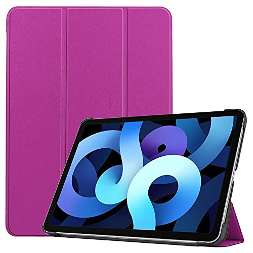 Funda de piel para iPad Air4 con tres pliegues, color morado